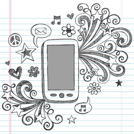 ink sketch: Cell Phone Mobile PDA Sketchy Doodles disegnati a mano Notebook con Shooting Stars, Icona mail, musica e bolle di discorso-Illustrator Elementi di design su sfondo foderato di carta Sketchbook