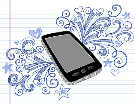 Mobile Cell Phone PDA Sketchy Hand-Drawn Notebook Doodles with Swirls, Hearts, and Shooting Stars- Illustration Design Elements on Lined Sketchbook Paper Background Stock Vector - 13013737