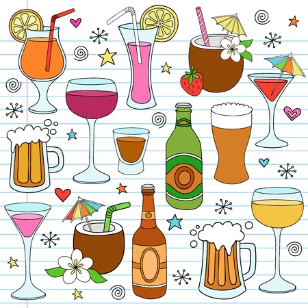 mixed drink: Beer, Wine, and Mixed Alcohol Drinks Hand Drawn Notebook Doodle Design Elements Set on Lined Sketchbook Paper Background