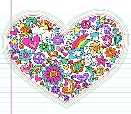 Valentine s Day Love Heart Groovy Psychedelic Hand Drawn Notebook Doodle Design Elements Set on Lined Sketchbook Paper Background- Vector Illustration