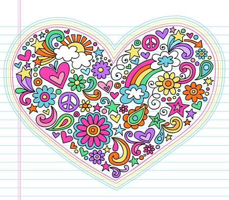 60s hippie: Valentine s Day Love Heart Groovy Psychedelic Hand Drawn Notebook Doodle Design Elements Set on Lined Sketchbook Paper Background- Vector Illustration
