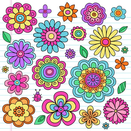 60s hippie: Flower Power Flowers and Ladybug Groovy Psychedelic Hand Drawn Notebook Doodle Design Elements Set on Lined Sketchbook Paper Background