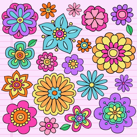Flower Power Groovy Psychedelic Hand Drawn Notebook Doodle Design Elements Set on Lined Sketchbook Paper Background Vector