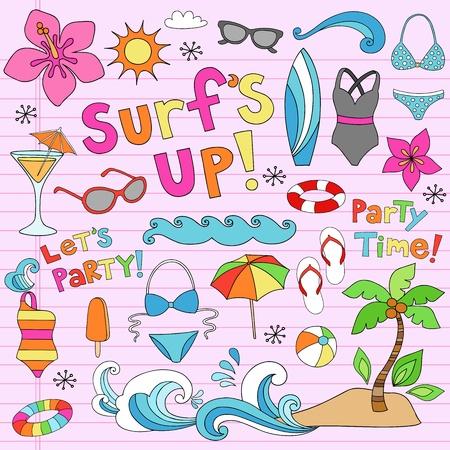 summer: До летней гавайской Surf с Психоделический Groovy ноутбук Doodle элементы дизайна расположен на розовый матерчатые справочный документ Sketchbook