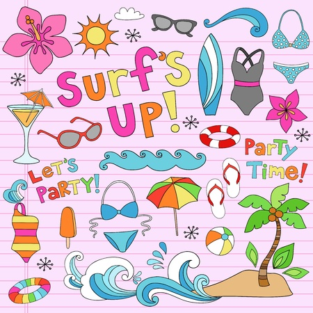 Hawaiian Surf s Up Summer Psychedelic Groovy Notebook Doodle Design Elements Set on Pink Lined Sketchbook Paper Background Vector