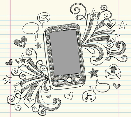 phone: Hand-Drawn Mobile Cell Phone PDA Sketchy Notebook Doodles with Swirls, Hearts, Email Icons, Speech Bubbles, and Shooting Stars Illustration