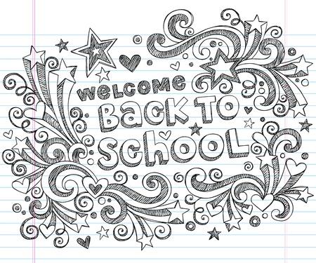 Bienvenido de regreso a la escuela Garabatos Sketchy Notebook - dibujados a mano elementos de diseño