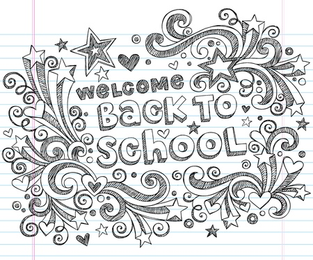 back to school: Welcome Back to School Sketchy Notebook Doodles - Hand-Drawn Design Elements
