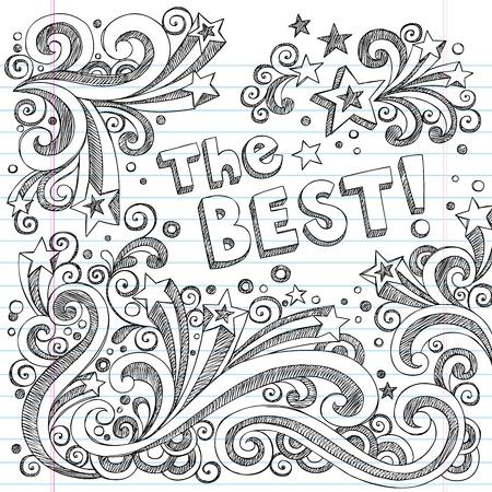 sketchy illustration: The Best Sketchy Notebook Doodles - Hand-Drawn Design Elements Illustration on Lined Sketchbook Paper Background