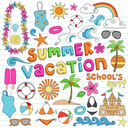 rainbow cocktail: Hawai de vacaciones de verano Psychedelic Groovy Elementos port�tiles Dise�o del Doodle Establecer en el fondo forrado de papel Sketchbook - Ilustraci�n Vectorial Vectores