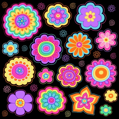 sixties: Flower Power Groovy Psychedelic Hand Drawn Doodle Notebook-Design-Elemente auf Lined Sketchbook Paper Background Set Illustration