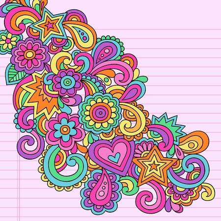 anni settanta: Flower Power Groovy mano Psychedelic Drawn astratta Design Element Doodle Notebook su carta a righe Sketchbook Background-Vector Illustration Vettoriali