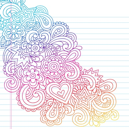 60s: Groovy Psychedelic Flower Outline Doodles Design Element on Lined Sketchbook Paper Background- Vector Illustration
