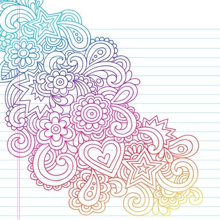 Groovy Psychedelische Outline Doodles Ontwerp Element op Lined Schetsboek papier achtergrond-Vector Illustratie