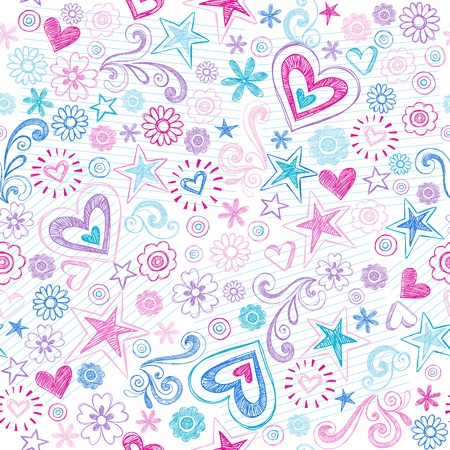 Seamless Pattern Hearts and Stars Back to School Sketchy Notebook Doodle Design- Hand-Drawn Vector Illustration Background Vector