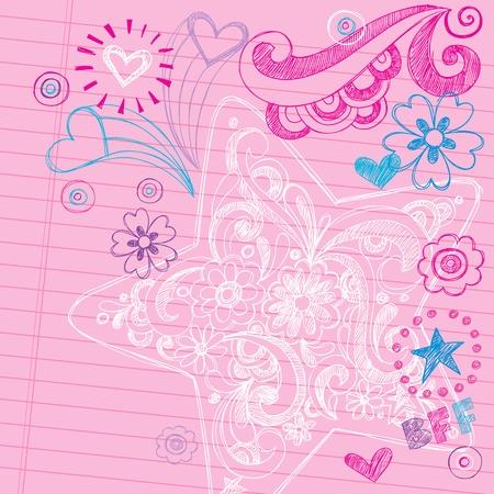 adolescentes estudiando: Sketchy Notebook Doodles Swirly estrellas - Dibujado a mano Volver a la Escuela de Dise�o Ilustraci�n Vector elementos en el fondo forrado de papel Sketchbook Vectores