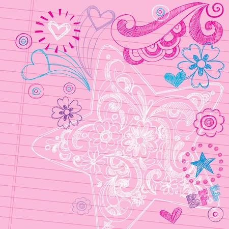 Sketchy Swirly Star Notebook Doodles - Hand-Drawn Back to School Design Elements Vector Illustration on Lined Sketchbook Paper Background Vector