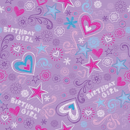 girly: Seamless Birthday Pattern with Hearts and Stars Back to School Style Sketchy Notebook Doodle Design- Hand-Drawn Vector Illustration Background