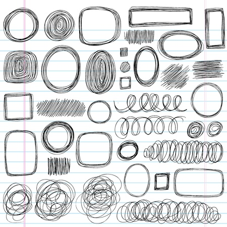 scroll shape: Scribble Doodles Sketchy Back to School Notebook Vector Illustration Design Elements on Lined Sketchbook Paper Background