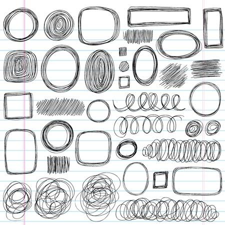 Scribble Sketchy Volver a la escuela los elementos del vector portátiles, diseño, ilustración en el fondo forrado de papel Cuaderno de Garabatos Ilustración de vector