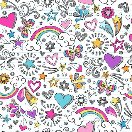 Seamless Pattern Rainbow Doodles- Back to School Sketchy Notebook Design Hand-Drawn Illustration Background Vector