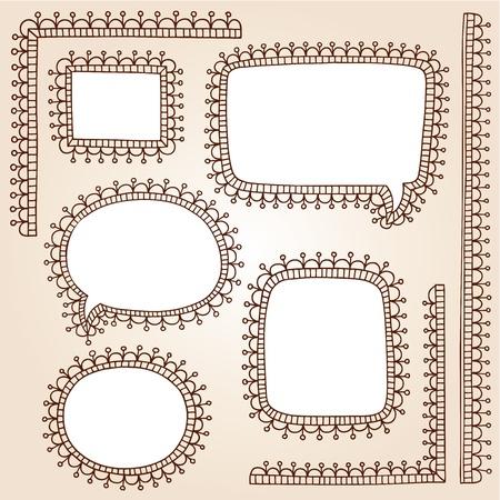 Henna Doodle Speech Bubbles Vintage Frames Mehndi Doodle Paisley Design Elements Set Vector