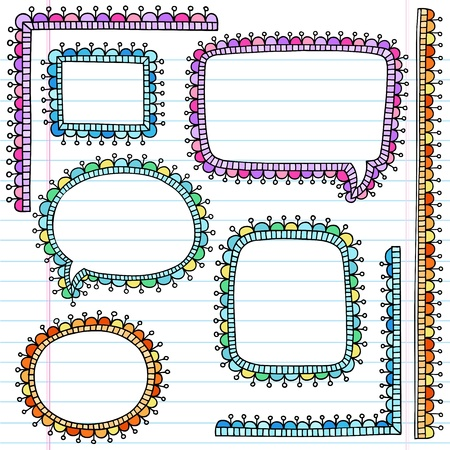 Speech Bubble Frames Notebook Doodles- Back to School Hand Drawn Design Elements on Lined Sketchbook Paper Background Vector