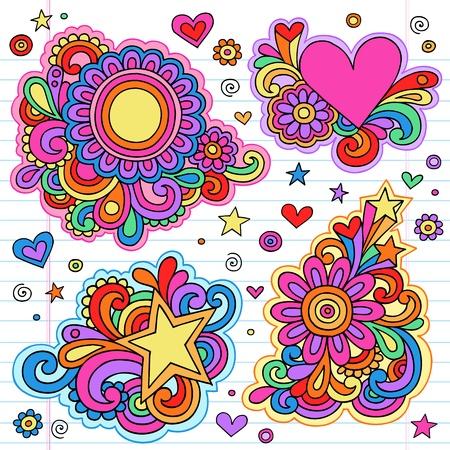 siebziger jahre: Groovy Psychedelic Doodles Hand Drawn Doodle Notebook-Design-Elemente auf Lined Sketchbook Papierhintergrund Illustration