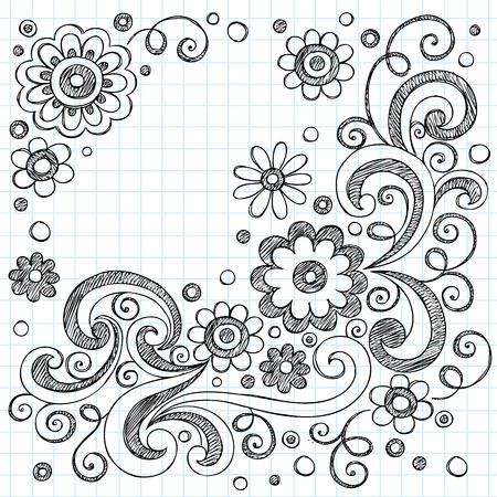 手描きの花裏地スケッチ ブック [背景に用紙を学校大ざっぱなノートの落書きイラスト デザイン要素に戻る