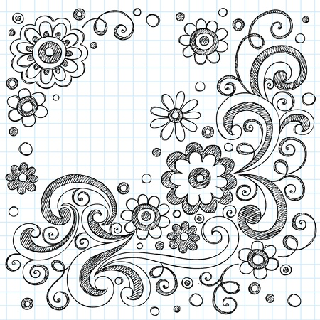 Hand-Drawn FLowers Back to School Sketchy Notebook Doodles- Illustration Design Elements on Lined Sketchbook Paper Background Vector