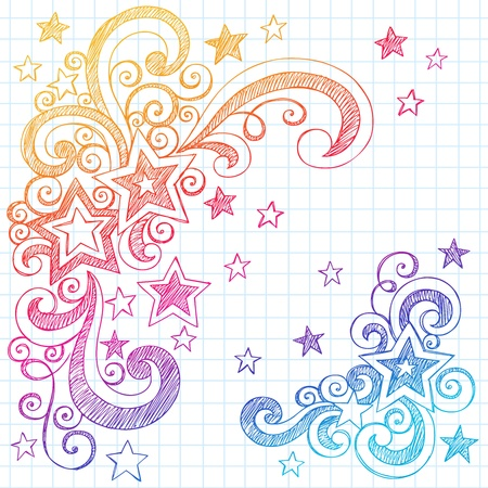 Shooting Stars and Swirls Back to School Notebook Doodles- Hand-Drawn Sketchy Illustration Design Elements on Lined Sketchbook Paper Background Vector