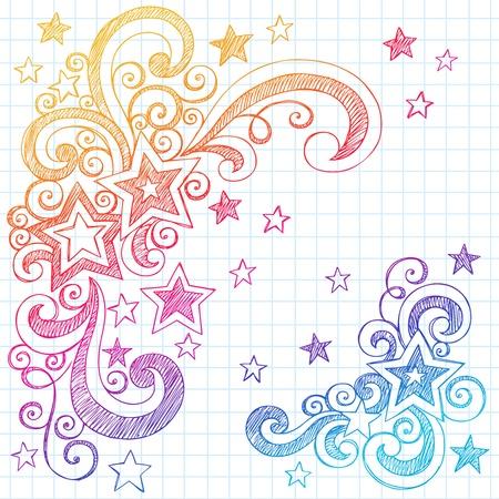 carta da lettere: Shooting Stars e Swirls Torna alla Scuola Notebook Doodles-Hand-Drawn Sketchy Elementi design illustrazione su sfondo Lined Paper Sketchbook Vettoriali
