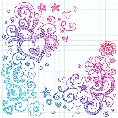 Valentine s Day Love Hearts Sketchy Notebook Doodles Design Elements on Lined Sketchbook Paper Background- Vector Illustration