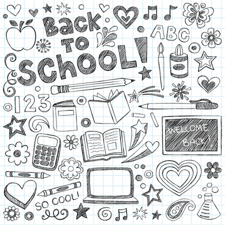first day of school: Back to School Supplies Sketchy Notebook Doodles with Lettering, Shooting Stars, and Swirls- Hand-Drawn Vector Illustration Design Elements on Lined Sketchbook Paper Background