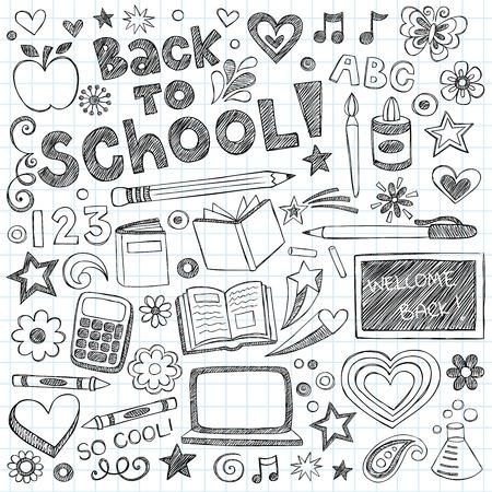 De vuelta a clases Doodles incompletos portátiles con letras, las estrellas fugaces, y los remolinos-dibujados a mano elementos del vector, diseño, ilustración en el fondo forrado de papel Sketchbook Ilustración de vector