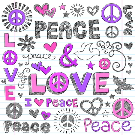 peace and love: Peace & Love Sketchy Notebook Doodles Design Elements on Lined Sketchbook Paper Background- Vector Illustration