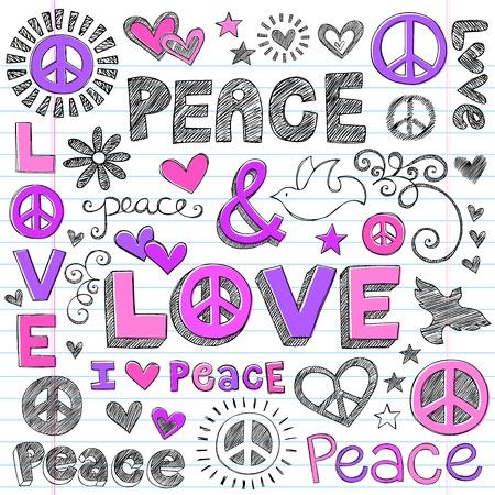 the peace: Peace & Love Sketchy Notebook Doodles elementos de dise�o en papel rayado Sketchbook de fondo, ilustraci�n vectorial