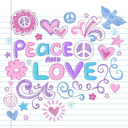 Liefde van de vrede Sketchy Notebook Doodles Ontwerp Elementen op Gevoerde Schetsboek papier achtergrond-Vector Illustratie