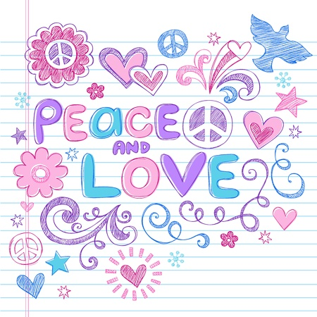 simbolo della pace: Love Peace Sketchy Doodles Notebook elementi di design su carta a righe Sketchbook Background-Vector Illustration