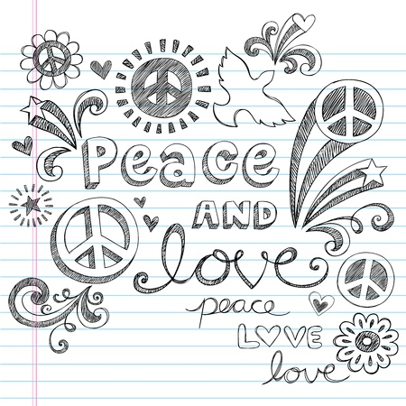 simbolo della pace: Peace & Love Sketchy Doodles Notebook Design Elements su foderato di carta Sketchbook Background-illustrazione vettoriale Vettoriali