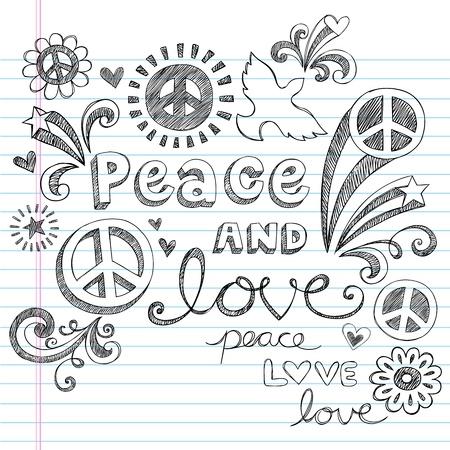 simbolo de la paz: Peace & Love Sketchy Notebook Doodles elementos de dise�o en papel rayado Sketchbook de fondo, ilustraci�n vectorial
