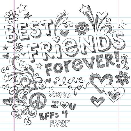 mejores amigas: Dibujado a mano Best Friends Forever Love y Corazones incompletos Regreso a la Escuela de Diseño de Estilo Elementos Notebook Doodles en papel rayado Sketchbook de fondo, ilustración vectorial