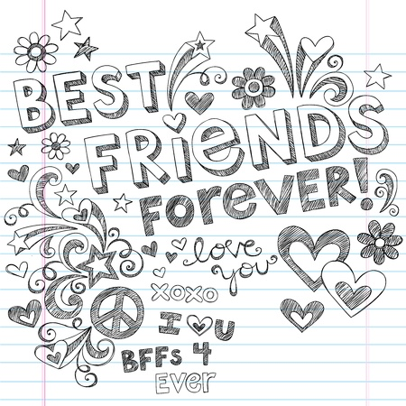 cute doodle: Hand-Drawn Best Friends Forever Love & Hearts Sketchy Back to School Style Notebook Doodles Design Elements on Lined Sketchbook Paper Background- Vector Illustration