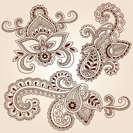 ヘナ ペイズリーの手描きの花 Mehndi 落書き抽象的な花のベクトル図のデザイン要素