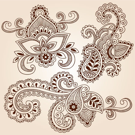 henna design: Dibujado a mano henna Paisley Flores Doodles Mehndi floral abstracto Ilustraci�n Vector elementos de dise�o