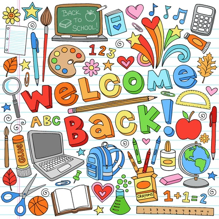 Terug naar School Classroom Supplies Notebook Doodles Stockfoto - 14669953