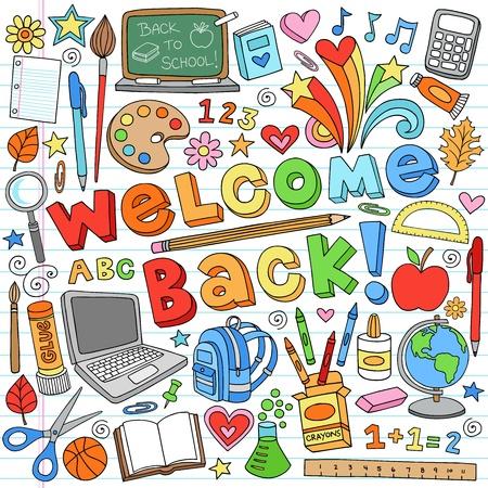 zaino: Torna alla Classroom School Supplies Doodles Notebook Vettoriali