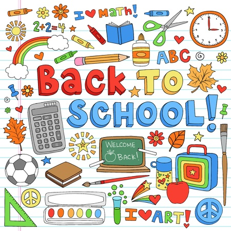 first day of school: Back to School Classroom Supplies Notebook Doodles- Hand-Drawn Illustration Design Elements on Lined Sketchbook Paper Background