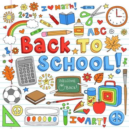 ni�os con l�pices: Volver al Aula School Supplies Notebook Doodles-dibujados a mano elementos de dise�o, ilustraci�n, en el fondo forrado de papel Sketchbook Vectores