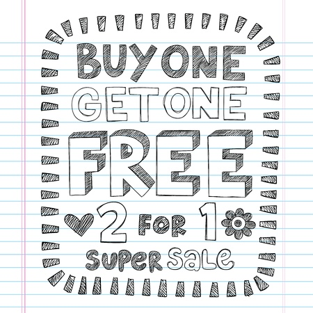 Buy One Get One Free Sketchy Notebook Doodles Discount Sale   Shopping Tag- Hand-Drawn Illustration Design Elements on Lined Sketchbook Paper Background Иллюстрация